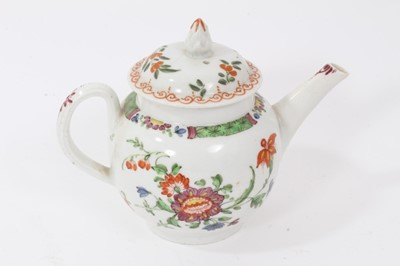 Lot 47 - Rare Plymouth teapot, circa 1768-70, of small size, polychrome painted with flowers, with Bristol cover, 15.5cm from spout to handle