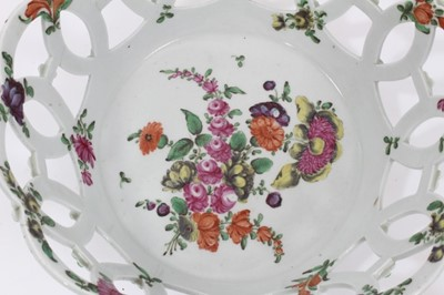 Lot 52 - Worcester pierced round basket, circa 1770, polychrome painted with flowers, 19.75cm diameter
