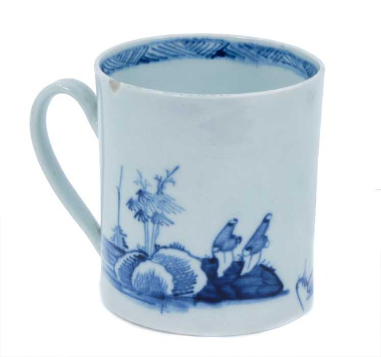 Lot 53 - Chaffer's Liverpool mug, circa 1760, decorated in underglaze blue with Chinese watery landscapes, 5.5cm high