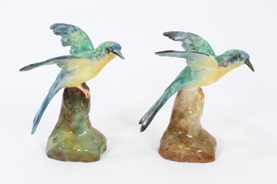 Lot 63 - Pair of Crown Staffordshire models of Kingfishers, shown perched on naturalistic bases, 9cm high