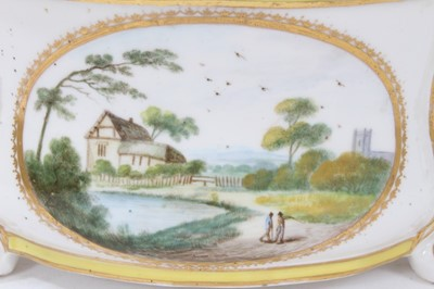 Lot 72 - Derby yellow-ground bough pot, circa 1790-1800, polychrome painted with landscape scenes, with scrolling handles and feet, 18.5cm wide