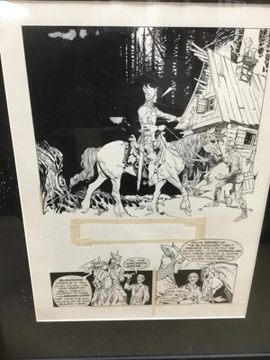 Lot 2 - Comic Book interest: Attributed to Estaban Moroto (b. 1942) series of eight original illustrations for a comic book publication