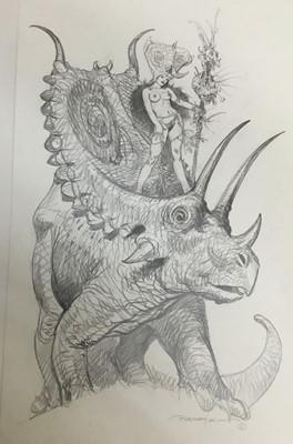 Lot 8 - Comic Book interest: Esteban Moroto (b. 1942), pencil, fantastical sketch