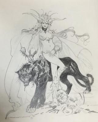 Lot 9 - Comic Book interest: Estaban Moroto (b. 1942), pencil, series of three fantastical sketchEd