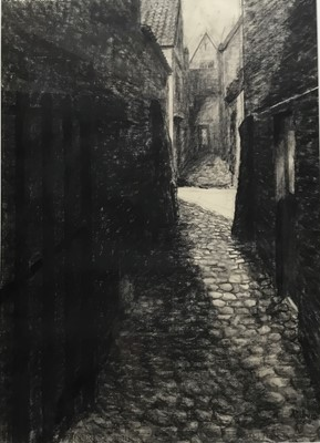 Lot 30 - Arthur Oldham (Contemporary) charcoal, Bruges Alleyway, signed and dated 2000, 69 x 48cm, glazed frame