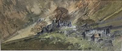 Lot 50 - Malcolm Edwards (20th century) mixed media, End of an era, Smowdonia, 17 x 38cm, glazed frame, Thompson's Gallery label verso