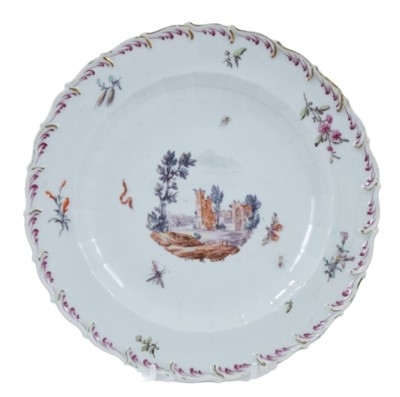 Lot 91 - Chelsea plate, circa 1758, polychrome decorated with ruins, surrounded by insects and floral sprays, 21cm diameter=