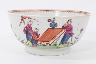 Lot 94 - New Hall bowl, circa 1800, polychrome painted with Chinese figures, 15cm diameter
