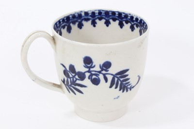 Lot 96 - Liverpool blue and white coffee cup, circa 1775, decorated with flowers on the outside and a foliate pattern on the inside rim, 6.5cm high