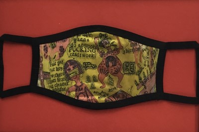 Lot 83 - Grayson Perry (b. 1960) printed fabric face-mask - 'We shall catch it on the beaches', framed, total size 24 x 32cm