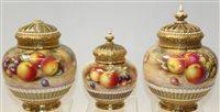 Lot 1078 - Three Royal Worcester porcelain pot pourri...