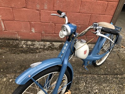 Lot 15 - 1950's NSU Quickly 49cc Moped, finished in blue and cream, partially restored, engine currently removed from the bike.