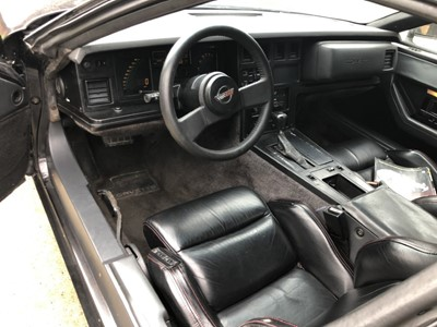 Lot 20 - 1986 Chevrolet Corvette Stingray, 5.7 litre V8, Automatic, finished in black with black leather interior, 69,000 miles indicated, MOT until March 7th 2022, supplied with keys, V5 and current MOT ce...