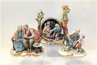 Lot 1083 - Three Capodimonte figure groups - including...