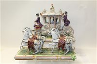 Lot 1086 - Impressive Dresden porcelain Stage Coach (in...