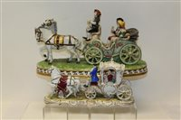 Lot 1087 - Two small Dresden porcelain Stage Coaches -...