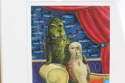 Lot 1861 - Brian Lewis (b.1947) signed limited edition print - Seal Trip V, 13/500, 29cm x 42cm, mounted