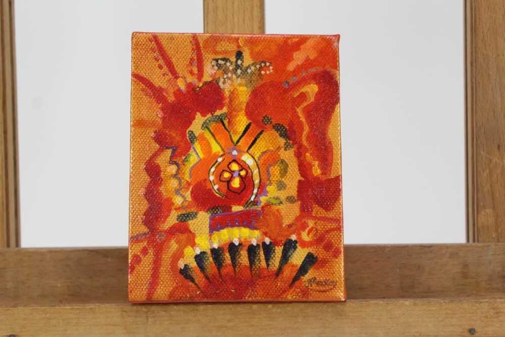Lot 1877 - Jane Mackay, contemporary, oil and acrylic on canvas - Royal Emblems, 2012, 13cm x 10cm