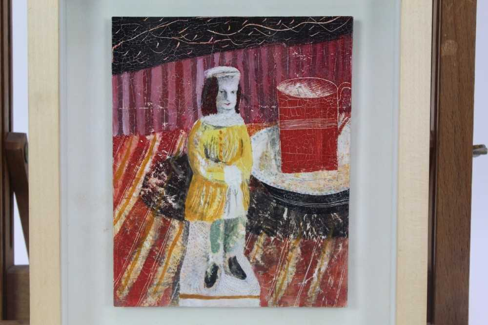 """Lot 1879 - Jonathan Christie (1968-2013) mixed media on board - """"Boy with Red Cup"""", 16cm x 13cm, in glazed frame"""
