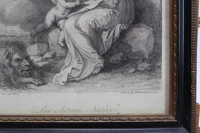 Lot 1860 - Collection of 18th and 19th century engravings, prints and other works to include James Gillray 'Madame Talian', Dighton hand coloured engravings, 19th century maple frames and others (22)