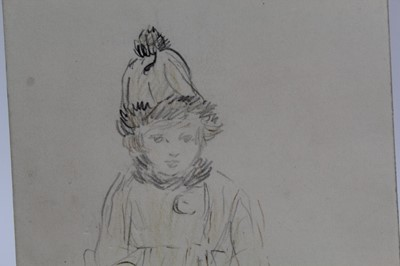 Lot 1710 - George Soper (1870-1942) pencil and ink drawing - Workhorse, 30cm x 28cm, together with an Eileen Alice Soper (1905-1990) pencil drawing - The Furry Hat, 18cm x 11cm, both unframed (2)   Provenance...