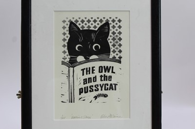 Lot 1711 - Peter Polaine, contemporary, two signed limited edition woodcuts - Eagle Owl, 1/30, mounted, and The Owl and the Pussycat, 1/35, in glazed frame