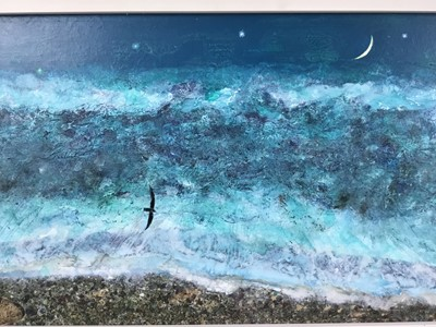 Lot 1723 - *Keith Grant (b.1930) acrylic on board - The Sea at Old Skagen with black Seabird and Crescent Moon, signed and dated '11, 21.5cm x 45cm, framed  Provenance: Chris Beetles Ltd., London