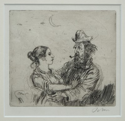 Lot 1725 - *Augustus John (1878-1961) signed etching - The Amorous Tramp, 13.5cm x 14cm, in glazed frame   Provenance: Piers Feetham Gallery, Aldeburgh Festival Exhibition
