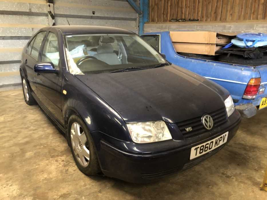 Lot 21 - 1999 Volkswagen Bora Saloon, 2.3 V5, manual, Reg. No. T860 KPV MOT, finished in blue with cloth interior, MOT expired February 2013, circa 50,000 miles, the car has been dry stored for a number of...