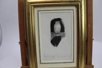 Lot 1838 - *Ernest Howard Shepard (1879-1976) pen and ink - 'Come Up Here! Said The Old Owl, inscribed beneath mount, in glazed gilt frame, 18cm x 11cm  Provenance: Chris Beetles Ltd., London