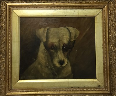 Lot 92 - English School, late 19th century, oil on canvas, portrait of a forlorn dog, signed and dated 'Cobban 1889', 23 x 27cm, framed