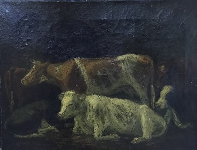 Lot 93 - English School, late 19th / early 20th century, oil on canvas - Cows in an interior, indistinctly inscribed in pencil to stretcher. 27 x 34cm, gilt frame