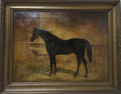 Lot 94 - English School. 19th century, oil on canvas, brown horse in a stable, unsigned, 38 x 51cm, framed