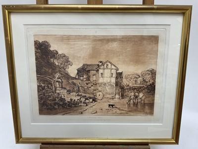 Lot 28 - After J. M. Turner, etching and mezzotint - Water Mill, from Liber Studiorum, 22cm x 31cm, in glazed gilt frame  Provenance: Goldmark Gallery, Rutland